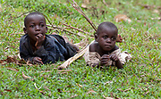 Pygmy tribe village boys of Bwindi, Uganda.