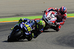 September 23, 2017 - Alcaiz, Spain - Italian riders Valentino Rossi of Movistar Yamaha MotoGP and Danilo Petrucci of OCTO Pramac Racing, in action during the Gran Premio Movistar de Aragon Qualifying on September 23, 2017 in Alcaiz, Spain. (Credit Image: © Joan Cros/NurPhoto via ZUMA Press)