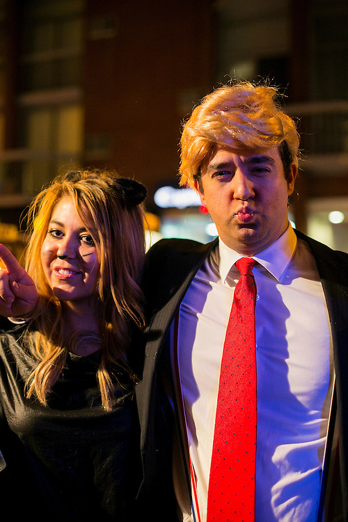 NEW YORK, NY - OCTOBER 29, 2016: Various political costumes on Halloween across Manhattan in New York, New York. CREDIT: Sam Hodgson for The New York Times.