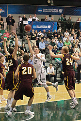 14 March 2014:  Jordan Nelson & Tyler Kruis during an NCAA mens division 3 quarter final basketball game between the Calvin Knights and the Illinois Wesleyan Titans in Shirk Center, Bloomington IL