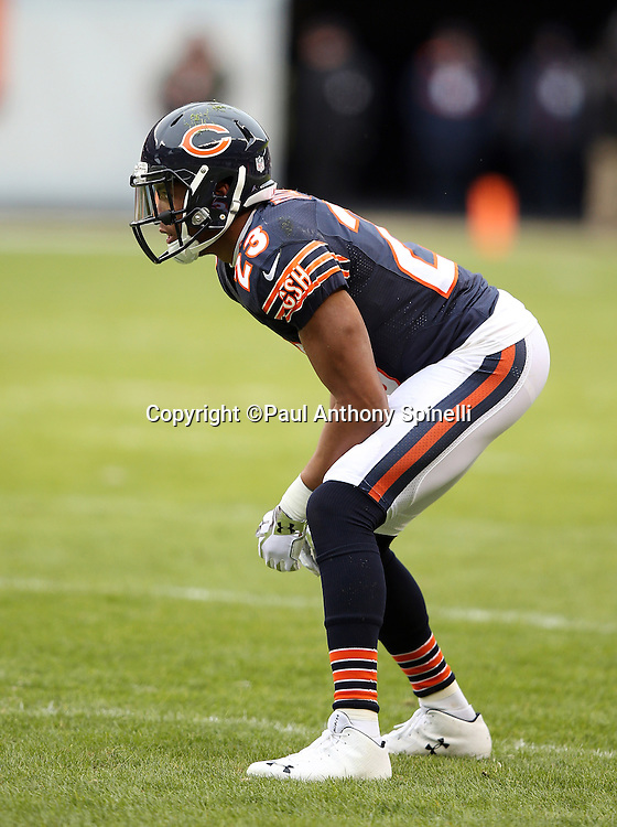 Chicago Bears cornerback Kyle Fuller (23) gets set during the NFL week 17 regular season football game against the Detroit Lions on Sunday, Jan. 3, 2016 in Chicago. The Lions won the game 24-20. (©Paul Anthony Spinelli)
