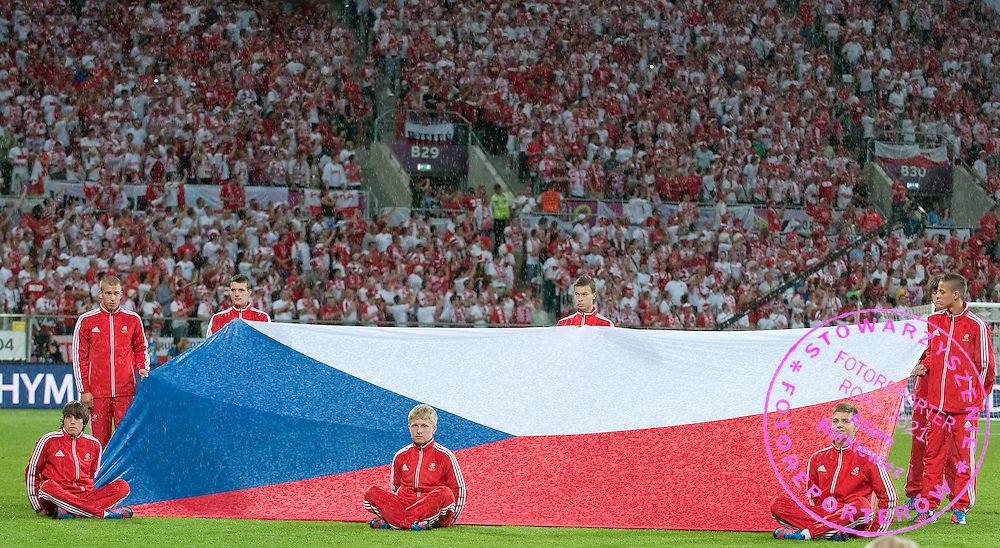 Children hold Czech's flag while national anthem before the UEFA EURO 2012 Group A football match between Poland and Czech Republic at Municipal Stadium in Wroclaw on June 16, 2012...Poland, Wroclaw, June 16, 2012..Picture also available in RAW (NEF) or TIFF format on special request...For editorial use only. Any commercial or promotional use requires permission...Photo by © Adam Nurkiewicz / Mediasport