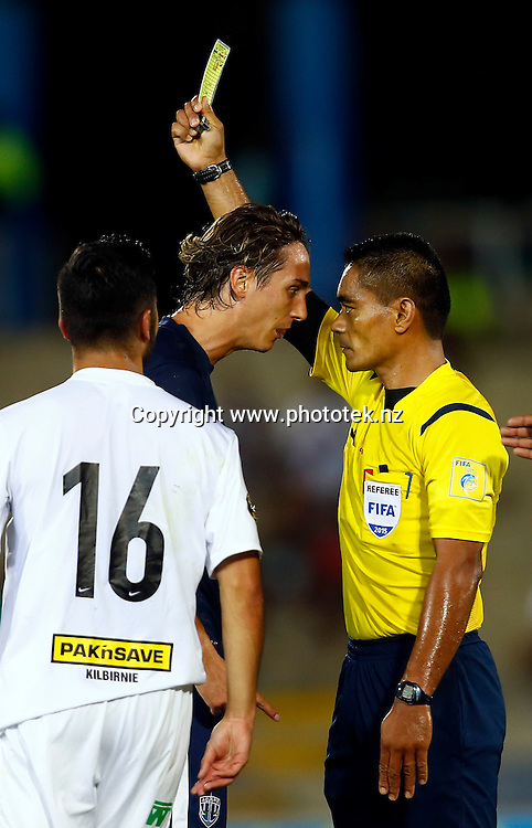 Auckland's Ivan Carril eye balls referee Norbert Hauata. 2015 Fiji Airways OFC Champions League Final, Auckland City FC v Team Wellington, ANZ Stadium, Suva, Sunday 26th April 2015. Photo: Shane Wenzlick / www.fb.phototek.nz