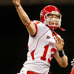 November 10, 2011; New Orleans, LA, USA; Houston Cougars quarterback Crawford Jones (13) against the Tulane Green Wave during the fourth quarter at the Mercedes-Benz Superdome.  Houston defeated Tulane 73-17. Mandatory Credit: Derick E. Hingle-US PRESSWIRE