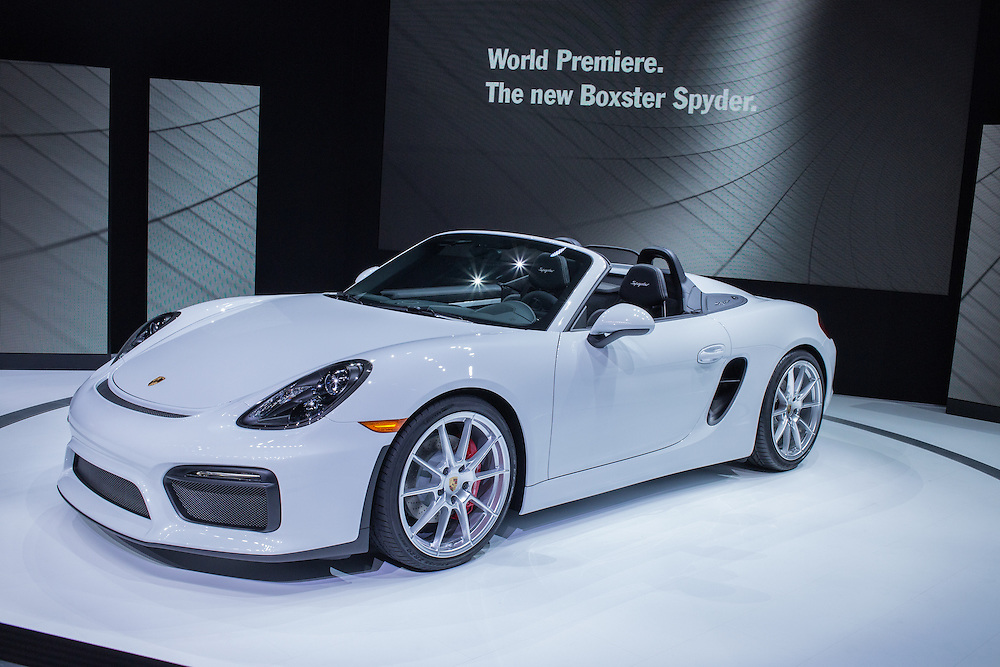 New York, NY - 1 April 2015. A Porsche Boxter Spyder makes its debut at the New York International Auto Show. The car boasts a 375hp engine and a 6-speed manual gearbox.