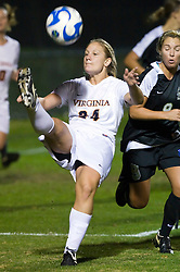 Virginia Cavaliers defender Colleen Flanagan (24) sends a bicycle kick back into the 18 yard box in action against Army.  The #16 ranked Virginia Cavaliers defeated the Army Black Knights 2-0 in the first round of NCAA Division 1 Women's Soccer Tournament at Klockner Stadium on the Grounds of the University of Virginia in Charlottesville, VA on November 14, 2008.