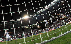 Goalkeeper of Spain Ikes Casillas saved a penalty shot of Daniele De Rossi of Italy (10) during the UEFA EURO 2008 Quarter-Final soccer match between Spain and Italy at Ernst-Happel Stadium, on June 22,2008, in Wien, Austria. Spain won after penalty shots 4:2. (Photo by Vid Ponikvar / Sportal Images)
