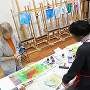 "Instructor September Krueger, right, talks to Mary Bryan during ""Create Your Own Quilt Squares"" Sunday November 23, 2014 at the Cameron Art Museum in Wilmington, N.C. (Jason A. Frizzelle)"