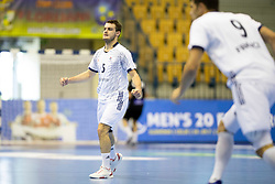 Gael Tribillon of France celebrates goal during handball match between National teams of Germany and France in Semifinal of 2018 EHF U20 Men's European Championship, on July 25, 2018 in Arena Zlatorog, Celje, Slovenia. Photo by Urban Urbanc / Sportida