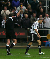Photo: Andrew Unwin.<br />Newcastle United v Southampton. The FA Cup. 18/02/2006.<br />Newcastle's Kieron Dyer (R) is shown the yellow card for over-celebrating.
