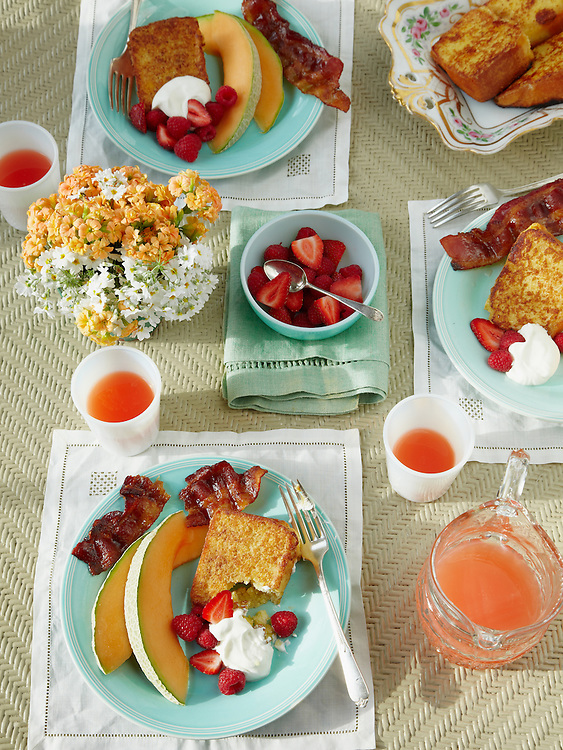 Pound Cake French Toast with Sweet Baked Bacon and Fresh Fruit.   Around The Southern Table Cookbook by Rebecca Lang
