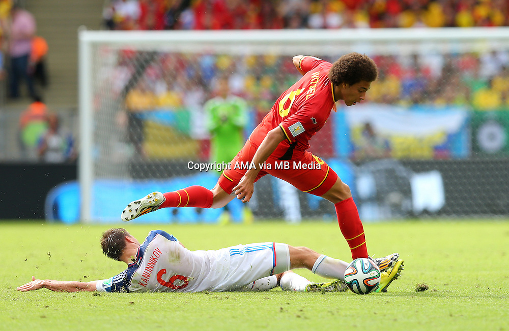 Maksim Kanunnikov of Russia and Axel Witsel of Belgium