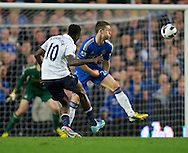 Picture by Alan Stanford/Focus Images Ltd +44 7915 056117.08/05/2013.Emmanuel Adebayor of Tottenham Hotspur scores to make it 1-1 during the Barclays Premier League match at Stamford Bridge, London..