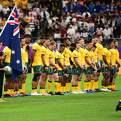 England stand for a minute of silence in memory of the victims of typhoon Hagibis before the Rugby World Cup 2019 Quarter Final match between England and Australia on October 19, 2019 in Oita, Japan. (Photo by Dave Winter/Icon Sport) - --- - Oita Stadium - Oita (Japon)