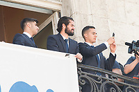 """Real Madrid's Marco Asensio, Francisco Roman """"Isco"""" and Lucas Vazquez on the balcony of the Seat of government greeting the fans in Madrid, May 22, 2017. Spain.<br /> (ALTERPHOTOS/BorjaB.Hojas)"""