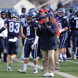TOM KELLY IV &mdash; DAILY TIMES<br /> Villanova head coach Andy Talley (center) claps after a big touchdown in the second half of the game during the Sam Houston State University at Villanova University NCAA FCS Division 1 - AA quarterfinal game at Villanova Stadium.