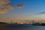 The Bronx–Whitestone Bridge is a suspension bridge in New York City that crosses the East River and connects the boroughs of Queens on Long Island, and the Bronx on the United States mainland via Interstate 678. The bridge was designed by Othmar Ammann, NYC, NY