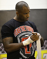 "NOTTINGHAM, ENGLAND, SEPTEMBER 26, 2012: Jimi Manuwa attends the open work-out sessions ahead of ""UFC on Fuel TV 5: Struve vs. Miocic"" inside Gym Combat in Nottingham, United Kingdom on Wednesday, September 26, 2012 © Martin McNeil"