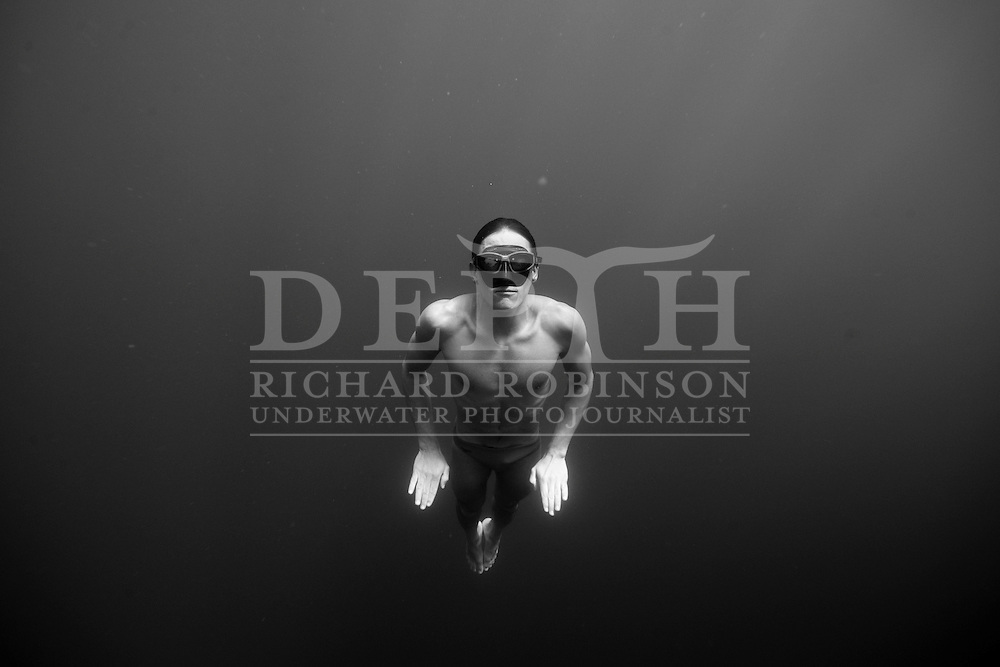 Freediver William Trubridge training in Lake Taupo New Zealand..In April 2008 at Dean's Blue Hole in the Bahamas New Zealand Free Diver William Trubridge descended to a depth of 87m on one breath of air, without fins, weights or any other form of assistance to regain the World Record in Unassisted Free diving to become once again the deepest man in the world..These Images of William training were taken at Lake Taupo