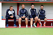 AFC Wimbledon manager Neal Ardley in the dugout during the Pre-Season Friendly match between Ebbsfleet and AFC Wimbledon at Stonebridge Road, Ebsfleet, United Kingdom on 29 July 2017. Photo by Matthew Redman.
