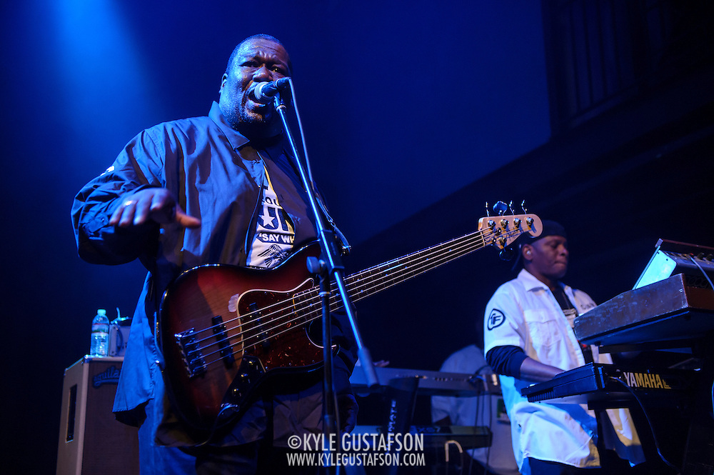 """WASHINGTON, DC - May 5th, 2014 - Big Tony of Trouble Funk (left) performs at the 9:30 Club in Washington D.C. as part of his birthday celebration. The night featured a set from """"surprise guests"""" Dave Grohl and Foo Fighters. (Photo by Kyle Gustafson / For The Washington Post)"""