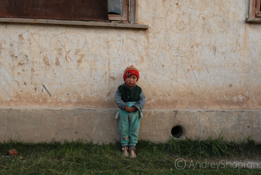 A portrait of a Kyrgyz kid