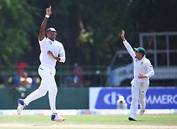 July 22, 2018 - Sri Lanka - South Africa's Lungi Ngidi celebrates with teammates celebrates after he dismissed Sri Lanka's Dimuth Karunaratne during the third day of the second Test match between Sri Lanka and South Africa at the Sinhalese Sports Club (SSC) international cricket stadium in Colombo,Sri Lanka  on July 22, 2018. (Credit Image: © Pradeep Dambarage/Pacific Press via ZUMA Wire)