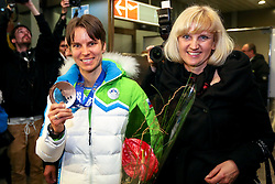 Teja Gregorin with mother Vesna at reception of Slovenia team arrived from Winter Olympic Games Sochi 2014 on February 19, 2014 at Airport Joze Pucnik, Brnik, Slovenia. Photo by Vid Ponikvar / Sportida