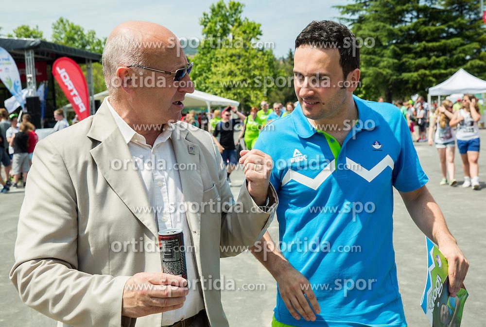 Bogdan Gabrovec, president of OKS and Bojan Tokic, table tennis during presentation of Slovenian Team for Baku 2015 European Games,  on June 4, 2015 in Koper, Slovenia. Photo by Vid Ponikvar / Sportida