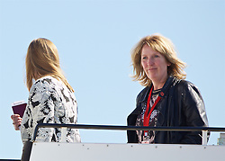 LIVERPOOL, ENGLAND - Monday, May 16, 2016: Hillsborough campaigners Margaret Aspinall and Sue Roberts board the Liverpool team plane to Basel as they fly out of Liverpool John Lennon Airport to Switzerland ahead of the UEFA Europa League Final against Sevilla FC. (Pic by David Rawcliffe/Propaganda)