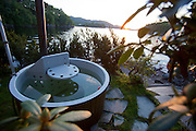 Wood fired hot tub at vacation house on a fjord near Alversund, Norway, 35 minutes by car from Bergen.