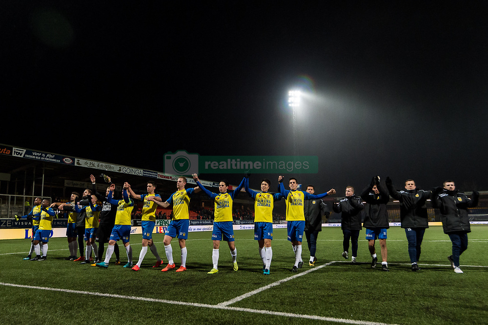 Cambuur celebrate the victory during the Jupiler League match between SC Cambuur Leeuwarden and Go Ahead Eagles at the Cambuur Stadium on February 02, 2018 in Leeuwarden, The Netherlands