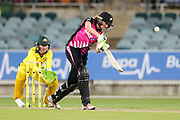 Amy Satterthwaite plays a lofted drive down the ground. Women's T20 international Cricket, Australia v New Zealand White Ferns.  Manuka Oval, Canberra, 5 October 2018. Copyright Image: David Neilson / www.photosport.nz