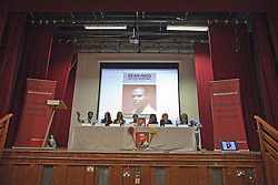 © Licensed to London News Pictures . 21/08/2012 . London , UK . Relatives of Sean Rigg , who died in police custody in August 2008 , and campaigners on stage at a meeting in Lambeth Town Hall . Video has emerged of a man being detained in Brixton on Sunday ( 19th August ) during which it is alleged police officers stamped on a man's head . Protesters marched to Brixton Police station and delivered a formal complaint about the incident , following the meeting . Photo credit : Joel Goodman/LNP