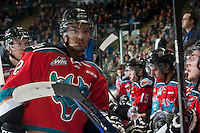 KELOWNA, CANADA - OCTOBER 25: Tyrell Goulbourne #12 of Kelowna Rockets stands at the bench against the Brandon Wheat Kings on October 25, 2014 at Prospera Place in Kelowna, British Columbia, Canada.  (Photo by Marissa Baecker/Shoot the Breeze)  *** Local Caption *** Tyrell Goulbourne;