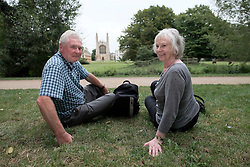 UK ENGLAND CAMBRIDGE 6SEP16 - Retirees Linda Jones (71, R), a former florist, and her partner Keith Fullard (70), a quantity surveyor from Codsall, the Midlands during a visit to Cambridge city centre.<br /> <br /> jre/Photo by Jiri Rezac<br /> <br /> © Jiri Rezac 2016