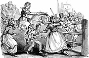 Rebecca Riots in Wales. Men and boys, many dressed as women, attacking a turnpike gate in protest at charges at tollgates on public roads. Another of their main targets was union workhouses. From 'The Illustrated London News'  (London,  11 February 1843).