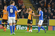 Hull City defender Alex Bruce gives away free kick during the Sky Bet Championship match between Hull City and Ipswich Town at the KC Stadium, Kingston upon Hull, England on 20 October 2015. Photo by Ian Lyall.