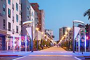Downtown Long Beach Promenade at Night
