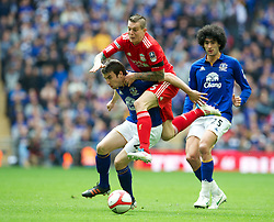 LONDON, ENGLAND - Saturday, April 14, 2012: Liverpool's Daniel Agger and Everton's Seamus Coleman during the FA Cup Semi-Final match at Wembley. (Pic by David Rawcliffe/Propaganda)