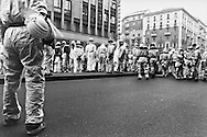 "Anti globalization movement. Italian ""White Overall"" in a demonstration for immigrants civil right. Milan, Italy, on January the 29th, 2000"