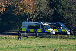 © Licensed to London News Pictures. 02/12/2019. WATFORD, UK. Police vans parked in the grounds at The Grove Hotel in Chandler's Cross, ahead of the NATO Summit which will be attended by heads of state and government.  The main NATO leaders' meeting takes place on 4 December.  Donald Trump, President of the United States, who will be one of the leaders attending, will also be one of the guests at a reception at Buckingham Palace on 3 December.  Photo credit: Stephen Chung/LNP