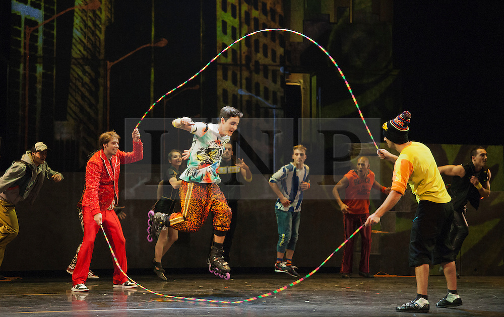 "© Licensed to London News Pictures. 30/09/2013. London, England. The 15 performers from the Canadian troupe Cirque Éloize perform their show ""iD"" at London's Peacock Theatre from 1 to 19 October 2013. ""iD"" is a blend of circus arts and urban dance. Photo credit: Bettina Strenske/LNP"