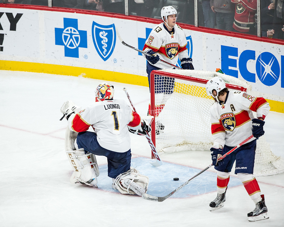 Dec 13, 2016; Saint Paul, MN, USA; Florida Panthers goalie Roberto Luongo (1) looks on against the Minnesota Wild at Xcel Energy Center. The Wild defeated the Panthers 5-1. Mandatory Credit: Brace Hemmelgarn-USA TODAY Sports