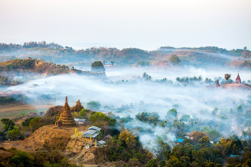 Mists hover over the old city of Mrauk U in the Rakhine State of Myanmar.
