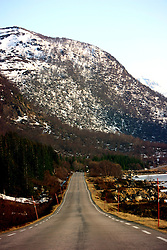 NORWAY LOFOTEN 28MAR07 - Road in an icy landscape on the shores of Nordpollen Fjord on the Lofoten islands...jre/Photo by Jiri Rezac..© Jiri Rezac 2007..Contact: +44 (0) 7050 110 417.Mobile:  +44 (0) 7801 337 683.Office:  +44 (0) 20 8968 9635..Email:   jiri@jirirezac.com.Web:    www.jirirezac.com..© All images Jiri Rezac 2007 - All rights reserved.