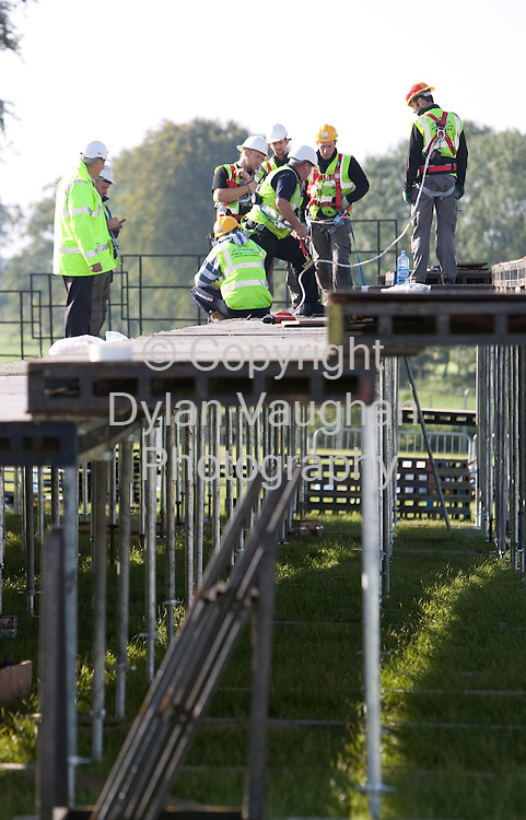 18/9/2008.Workers pictured working on the stands at the Stihl chainsaw show at the National Ploughing Championships in Kilkenny..Picture Dylan Vaughan