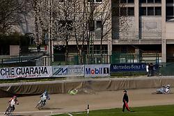 Samo Kukovica, Jasmin Ilijas, Maks Gregoric (crashed) and Renato Cvetko  at Speedway Slovenian National Championships race, on April 17, 2010, in Sportni park Ilirija, Ljubljana, Slovenia. (Photo by Vid Ponikvar / Sportida)
