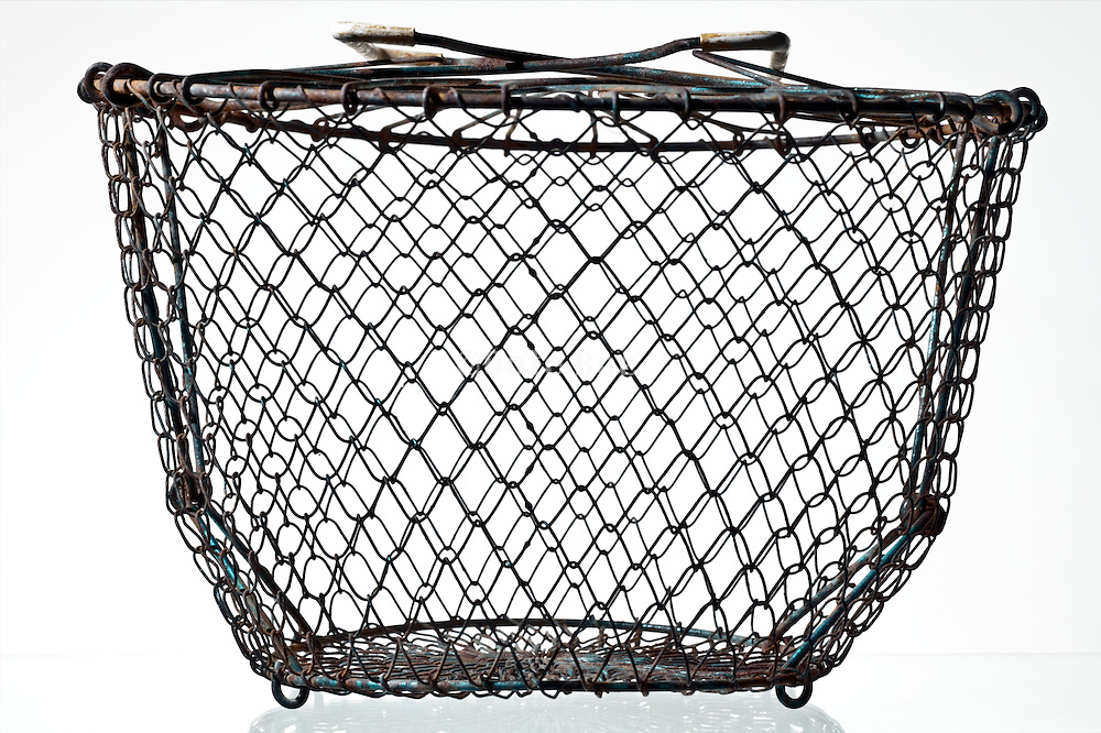 old vintage salad metal basket strainer