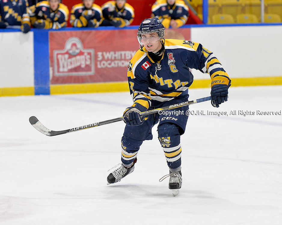 WHITBY, ON - Oct 18, 2015 : Ontario Junior Hockey League game action between Mississauga and Whitby, Jon O'Hara #15 of the Whitby Fury during the third period.<br /> (Photo by Shawn Muir / OJHL Images)